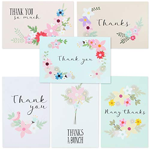 Best Paper Greetings 72-Pack Bulk Blank Thank You Postcards for Wedding, Bridal, and Baby Shower, Floral Note Cards, 4 x 6 Inches ()