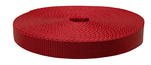 Strapworks Colored Flat Nylon Webbing - Strap For Arts And Crafts, Dog Leashes, Outdoor Activities - 1 Inch x 10 Yards, Dark Red ()