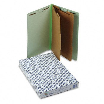 Extra-Hvy Pressboard End Tab Folders, Legal, Six-Section, Pale Green, 10/Box