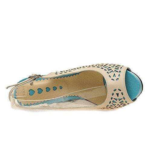 VogueZone009 Damen Weiches Material Fischkopf Schuhe Hoher Absatz Sandalen mit Hohem Absatz Cremefarben