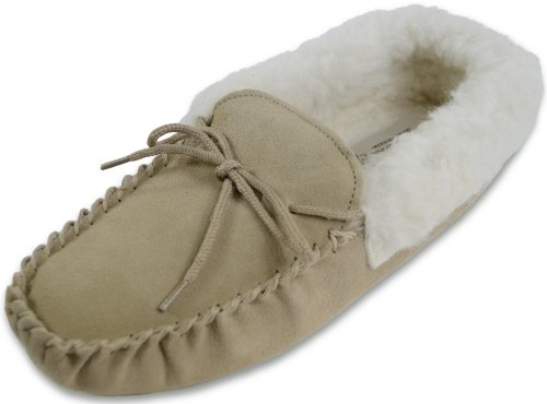 Snugrugs Womens Beige / Camel Wool Lined Moccasin Slippers with Soft Sole & Wool Cuff. Size US 8