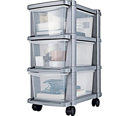 3 Drawer Slim Tower Storage Unit - Silver. Size H64.5, W25, D39cm. ARG