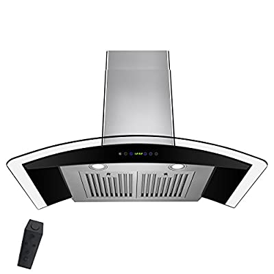 "AKDY 30"" Stainless Steel Tempered Glass Wall Mount Range Hood With Remote Control"