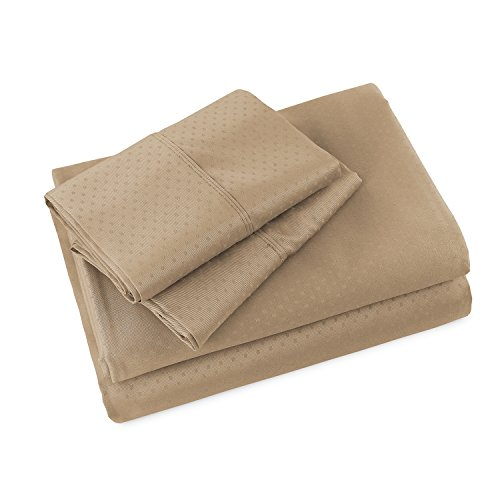 Luxor Linens - 4-Piece Sheet Set - Hotel Quality Anina Collection Swiss Dot Cotton Sheet Set - 800 Thread Count - Luxurious, Easy Care, Wrinkle Resistant - 6 Colors & 5 Sizes Available