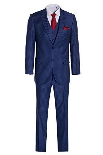 Navy Blue Gray Pinstripe (King Formal Wear Men's Premium Modern Fit Pinstripe Suit - Many Colors (Blue pinstripe, 42 Short)…)