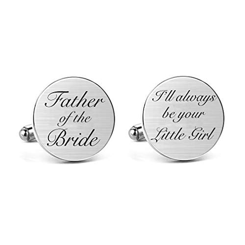 MUEEU Father of The Bride Cufflinks Keepsake Gifts Engraved I Will Always Be Your Little Girl Dad Father Tie Bar (Round Father of The Bride Cufflinks)