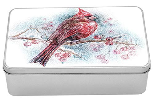 Lunarable Cardinal Tin Box, Red Bird on a Branch with Holly Berries Perching Avian Animal Hand Drawn Design, Portable Rectangle Metal Organizer Storage Box with Lid, 7.2