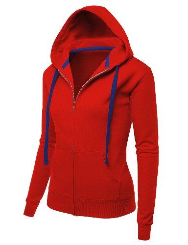 Doublju Women Unique Designed Colorful 3/4 Sleeve Zip-Up Hoodies SAMBA,S