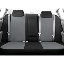 CalTrend Rear Row 40/60 Split Bench Custom Fit Seat Cover for Select Ford F-150/F-250 Models - DuraPlus (Light Grey Insert and Black Trim)