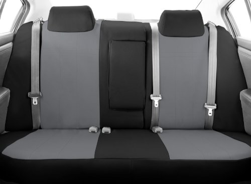 Caltrend Auto Accessories - CalTrend Middle Row 40/60 Split Bench Custom Fit Seat Cover for Select Toyota Highlander Models - DuraPlus (Light Grey Insert with Black Trim)