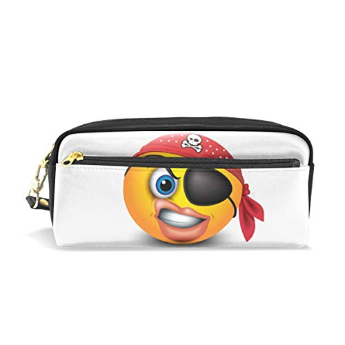 (WIHVE Pencil Case Pen Bag Pouch Emoticon with Red Pirate Bandana Eye Patch Stationary Case Makeup Cosmetic)