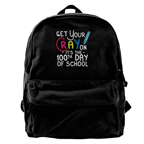 Men Blcak Backpack Casual Travel Bag Get Your Cray On 100Th Day Of School]()