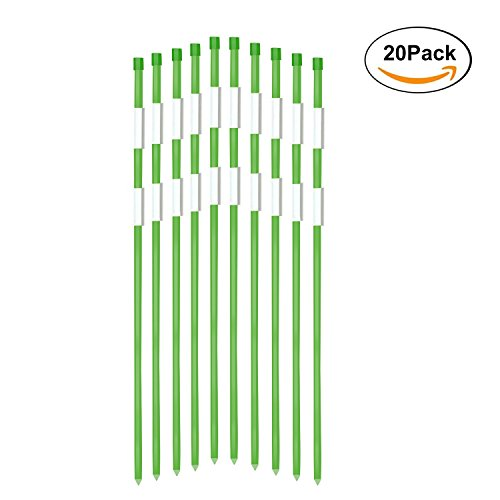FiberMarker Driveway Reflectors Snow Stakes Driveway Markers 60-Inch Green 20-Pack 5/16-Inch (Dia.) with 2pcs 10-Inch Reflective Tape