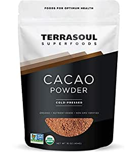 Terrasoul Superfoods Raw Organic Cacao Powder, 1 Lb - Raw | Keto | Vegan