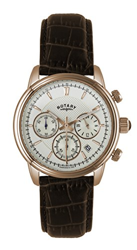 Rotary GS02879/06 Mens Silver Brown Chronograph Watch