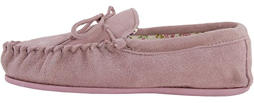Slippers LAMBLAND Ladies Lining Suede Pink Moccasin with Sheepskin Cotton vWfaBq
