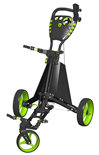Spin It Golf Products Easy Drive Golf Push Cart, Black/Green
