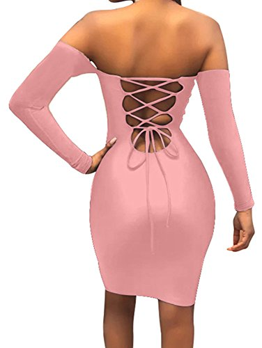 Pink Sexy Dress (Gobles Women Sexy Off Shoulder Back Lace Up Bodycon Mini Club Dress (S, Pink))