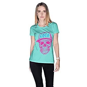 Creo Pink Blue Coco Skull T-Shirt For Women - Xl, Green