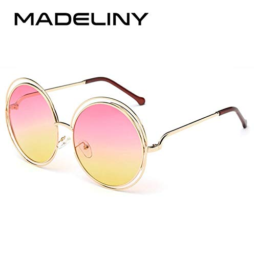 Kasuki Newest Fashion Carlina Round Wire-Frame Sunglasses 2016 New Vintage Fashion Sun Glasses Women - (Lenses Color: C12 Pink Yellow Lens)