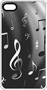 Music Notes Black & White Clear Rubber Case for Apple iPhone 5 or iPhone 5s