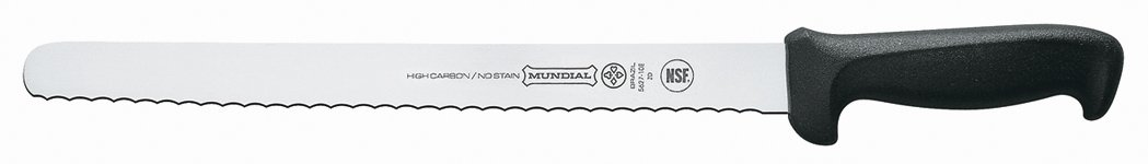 Mundial 5627-12E 12-Inch Serrated Edge Slicing Knife, Black