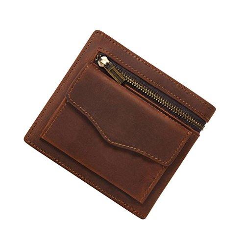 GTUKO Echtes Leder Herren Brieftasche Vintage Erste Schicht Leder Crazy Horseskin Short Zip Wallet Clutch , Dunkelbraun Hellbraun