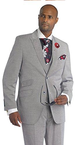 EJ Samuel Black Grey 3 Piece Modern Fit Suit in