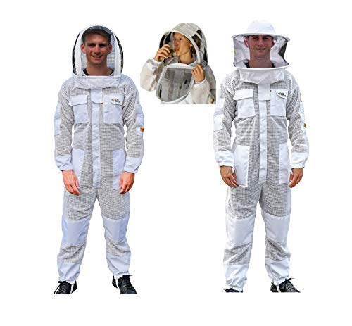 (OZ ARMOUR Beekeeping Suit Ventilated ULTRA COOL Three Layer Mesh with Fencing Veil & Round Brim Hat)