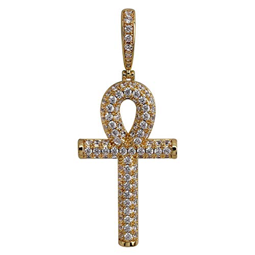 TOPGRILLZ 14K Gold Plated Fully Iced Out CZ Simulated Diamond Egyptian Ankh Cross Hip Hop Pendant Necklace (Gold)