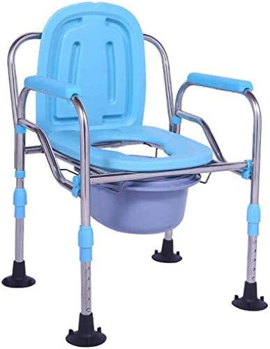 No logo TIN-YAEN Badezimmer Rollstühle, Ältere WC-Sitz Faltbare WC-Stuhl Sessel mit Anti-Rutsch-Armlehne Toilette...