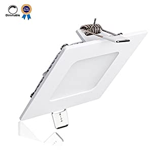 B-right 12W 6-inch Dimmable Ultra-thin Square LED Panel Light, 850lm, 80W Incandescent Equivalent, 3000K Warm White, LED Recessed Ceiling Lights for Home, Office, Commercial Lighting