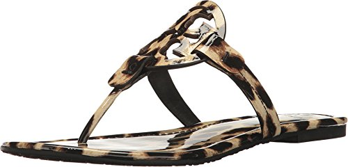 (Tory Burch Miller Patent Leather Sandals, Natural Leopard (5.5))