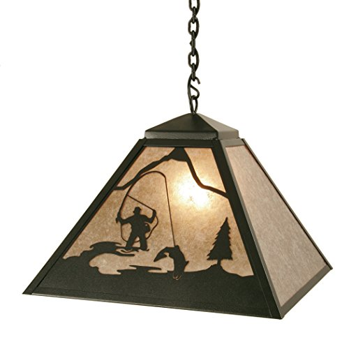 Steel Partners Lighting 2736-OI Swag - FLY FISHERMAN Pendant with Amber Mica Lens, Old Iron Finish ()