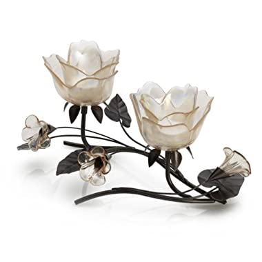 Mikasa 2-Tealight Centerpiece, 11.5-Inch, Peach Rose