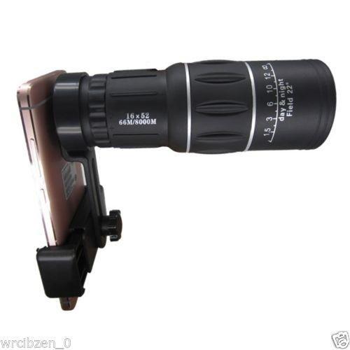 16x52 Hiking Concert Camera Lens Telescope Monocular with Universal Clip For Sma Focus Megapixel Lens