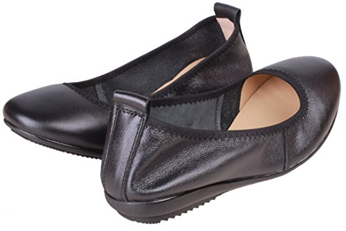 Kunsto Women's Comfort Leather Ballet Flats Shoes US Size 8 Black by Kunsto (Image #1)