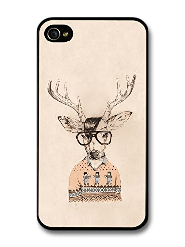 Hipster Deer with Glasses and Cardigan, Illustration on brown Background. coque pour iPhone 4 4S