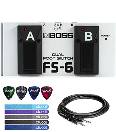 BOSS FS-6 Dual Latch and Momentary Foot Switch Pedal Bundle with 10-FT 1/4-Inch Male to Male Cable, Blucoil 5-Pack of Reusable Cable Ties, and 4-Pack of Celluloid Guitar - 5l Boss Footswitch Fs