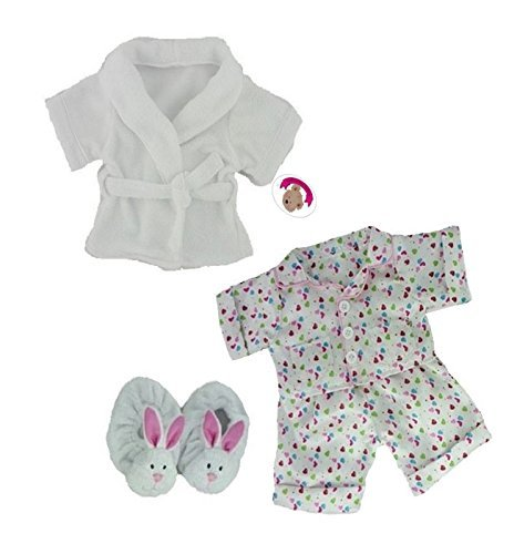 Build a Bear fit Teddy Bear Clothes Smartie PJ's WHITE Robe & Slippers Teddies Outfit by Build your Bears Wardrobe