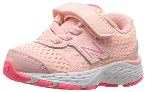 New Balance Girls' 680v5 Hook and Loop Running Shoe, Himalayan Pink, 13 XW US Little Kid