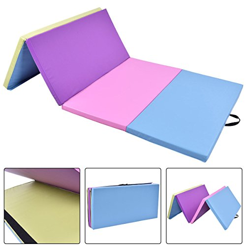 Gymnastics Exercise Mat 4′ x 8′ x 2″ Multi-Colors Folding PU Panel With Ebook