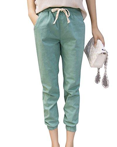 Femme Confortable Pantalon de Plage Lache Couleur Unie Pantalons Dcontracts Vert