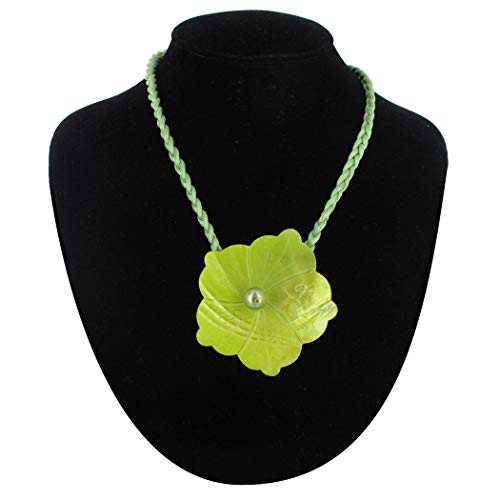 Large Mother of Pearl Flower Pendant Necklace Green Necklace For Women
