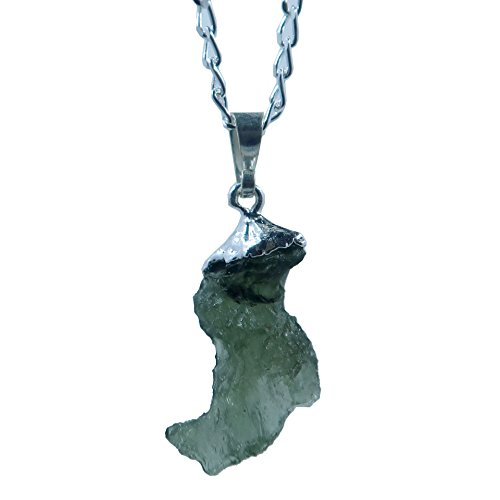 SatinCrystals Moldavite Necklace Boutique Genuine High Vibration Meteorite Green Stone Sterling Silver Raw Space Boot B09 (16'') by SatinCrystals