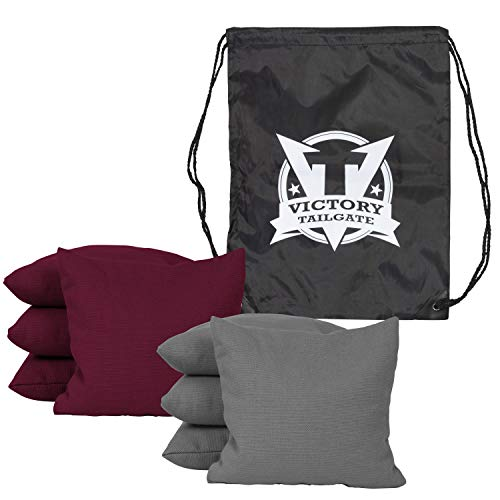 Victory Tailgate 8 Colored Corn Filled Regulation Cornhole Bags with Drawstring Pack (4 Gray, 4 Burgundy) by Victory Tailgate (Image #1)