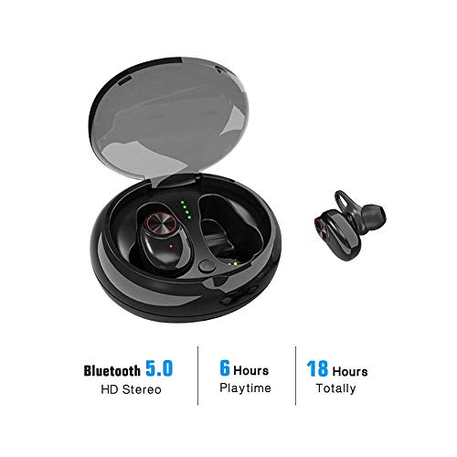 True Wireless Earbuds Bluetooth 5.0 Headphones HiFi Stereo Sound with Deep Bass Sweatproof in-Ear Earphones Built-in Mic Support Google/Siri Voice Assistant,24 Hours Playtime with Charging Case ()