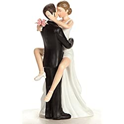Wedding Collectibles Funny Sexy Wedding Cake Topper with Bride and Groom | Fun, Sexy, Humorous Figurine | Fine Porcelain | 5.5 Inches