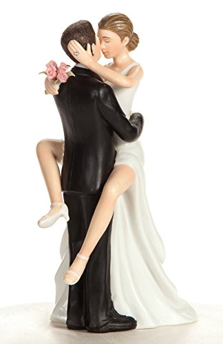Wedding Collectibles Funny Sexy Wedding Cake Topper with Bride and Groom | Fun, Sexy, Humorous Figurine | Fine Porcelain | 5.5 - Wedding Toppers Romantic Cake