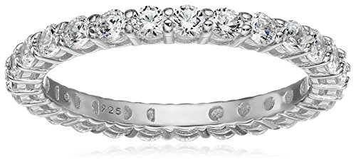 20 Cubic Zirconia Crystals - Platinum-Plated Sterling Silver All-Around Band Ring set with Round Swarovski Zirconia (1 cttw), Size 9